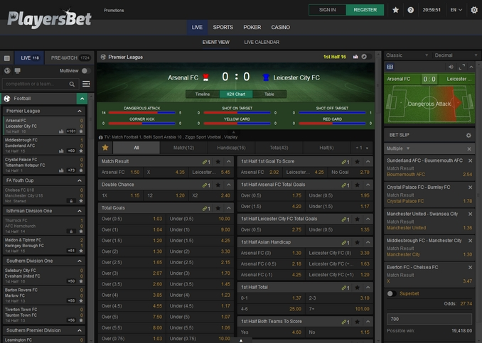 PlayersBet Live Betting Screen