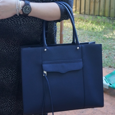 AwayFromTheBlue | Rebecca Minkoff medium MAB tote in moon navy JORD black fieldcrest watch