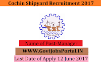Cochin Shipyard Recruitment 2017– Manager