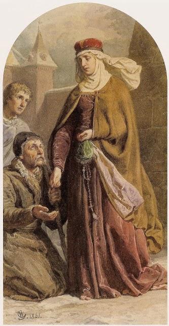 La santa repartiendo limosna a los necesitados