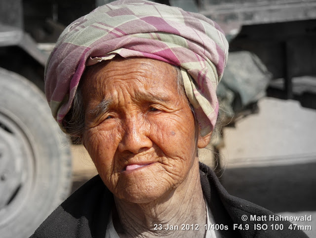 Burma, Myanmar, Bagan, old Burmese woman, people, street portrait, headshot, focal black and white
