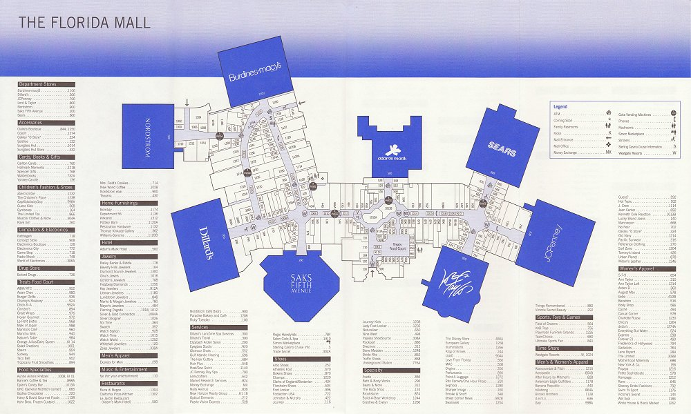 Florida Mall Directory Map The Mallmanac: Extant Assets   The Florida Mall, Orlando, FL