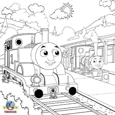 Island of Sodor Thomas tank the train Percy coloring railway engine pictures to color coloring pages
