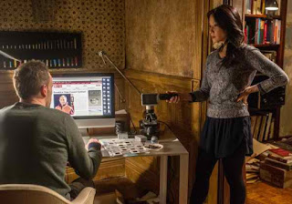Jonny Lee Miller and Lucy Liu as Sherlock Holmes and Joan Watson in CBS Elementary Episode # 22 Risk Management