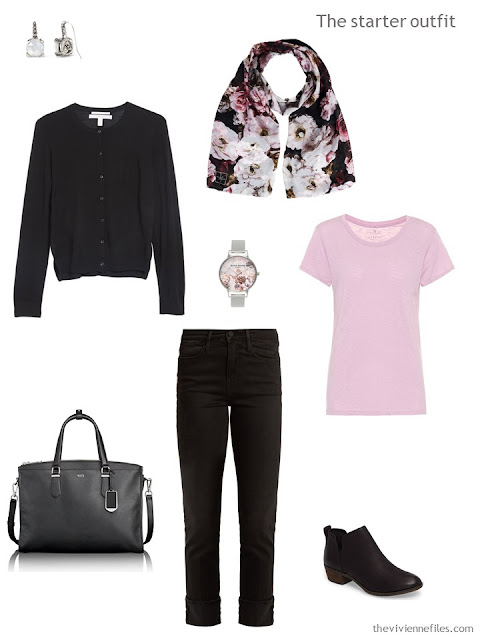a basic travel outfit in black and pink