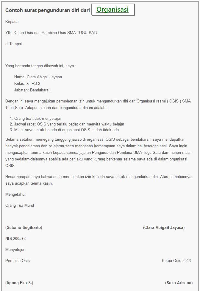 Contoh format surat pengunduran diri karyawan 6 contoh