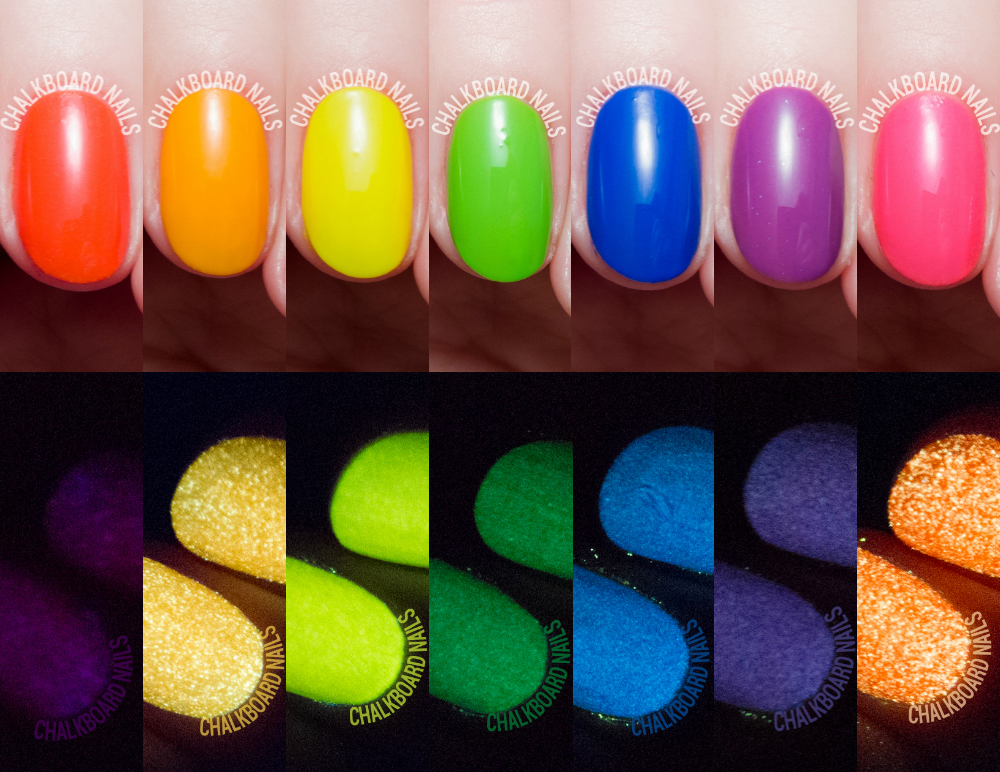Serum No. 5 neon glow nail polish via @chalkboardnails