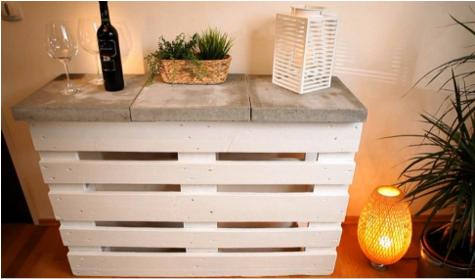 cómo hacer un mueble para cocina con pallets, mesa con pallets para la cocina