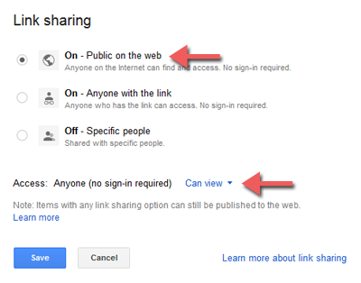 Sharing file/folder di Google Drive