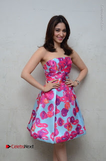 Actress Tamanna Latest Images in Floral Short Dress at Okkadochadu Movie Promotions  0066.JPG