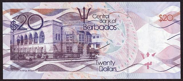 Barbados money currency 20 Dollars banknote 2013 Barbados Parliament Building