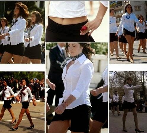 aabe058b6a88 ... αμέσως μετά τη δημοσιοποίηση φωτογραφιών μαθητριών οι οποίες παρέλασαν  φορώντας προκλητικές μίνι φούστες. Η παρέλαση-απόδοση τιμής προς τους  πεσόντες ...
