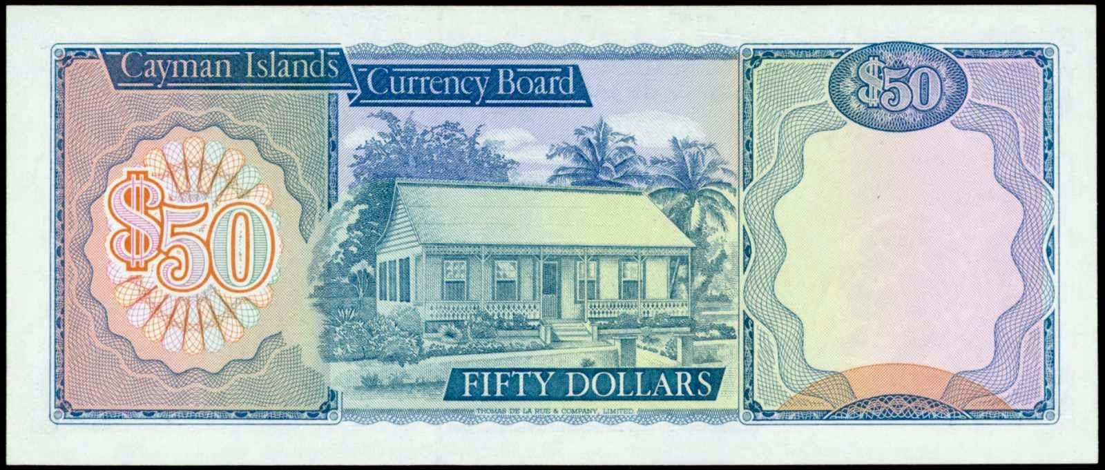 Cayman Islands paper money currency 50 Dollars bank note 1974