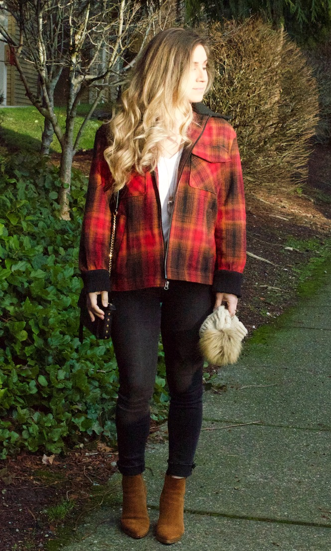 plaid jacket outfit with pompom beanie
