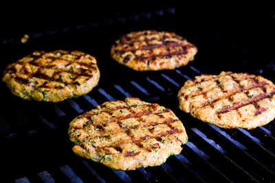 Grilled Fresh Salmon Burgers with Caper Mayonnaise found on KalynsKitchen.com
