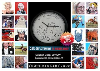 coupon code 20NOW at troderickart.com