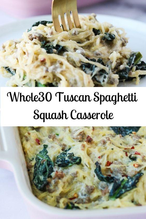 Whole30 Tuscan Spaghetti Squash Casserole