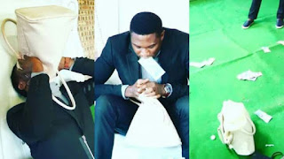 Nigerian Pastor Vomits Miracle Money During Service (PHOTOS)