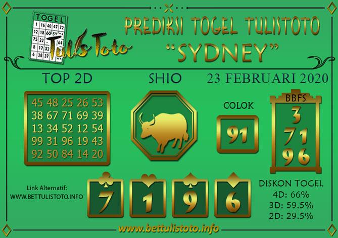 Prediksi Togel SYDNEY TULISTOTO 23 FEBRUARI 2020