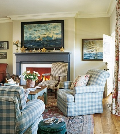 nautical marine art above fireplace decorating idea