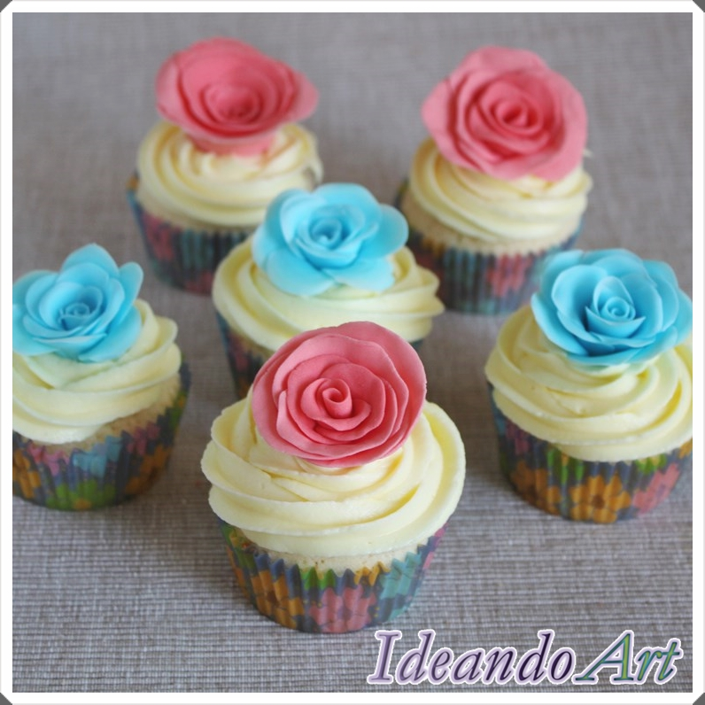 Cupcakes con rosas de fondant