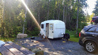 our Uhaul CT-13 fiberglass camper at a site in Acadia, Schoodic Woods Campground