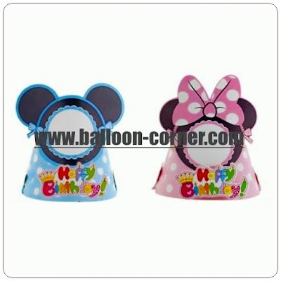 Topi Ulang Tahun Anak 3 Dimensi Motif Mickey Mouse & Minnie Mouse