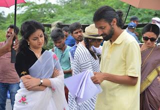 Keerthy Suresh with Nag Ashwin at Mahanati Shooting Spot