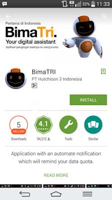 cara cek kuota 3 menggunakan aplikasi bimatri android