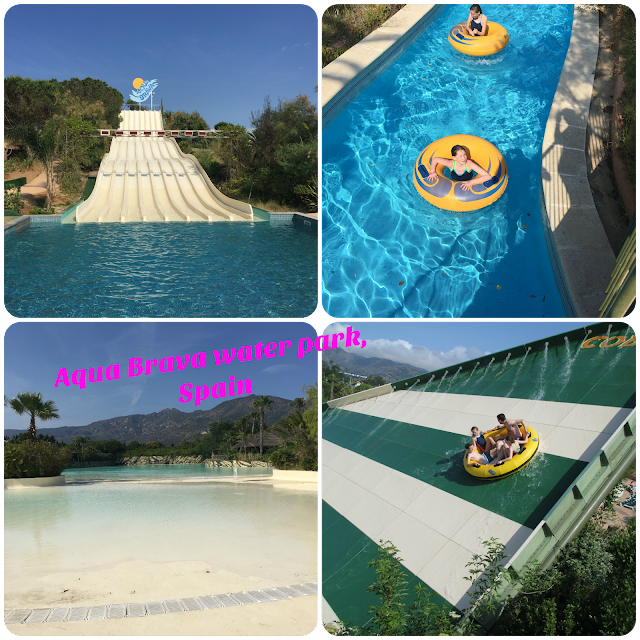 collage of aqua brava water park Spain