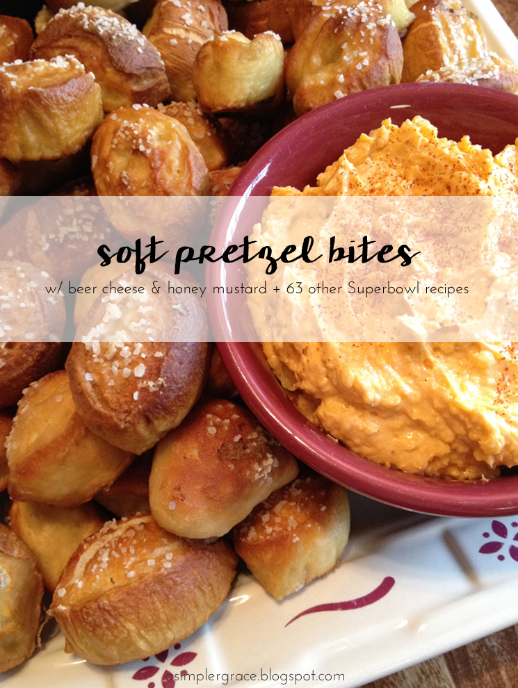 Recipes for the championship game! #foodiefootballfans Soft Pretzel Bites with Beer Cheese & Honey Mustard Dipping Sauces - A Simpler Grace