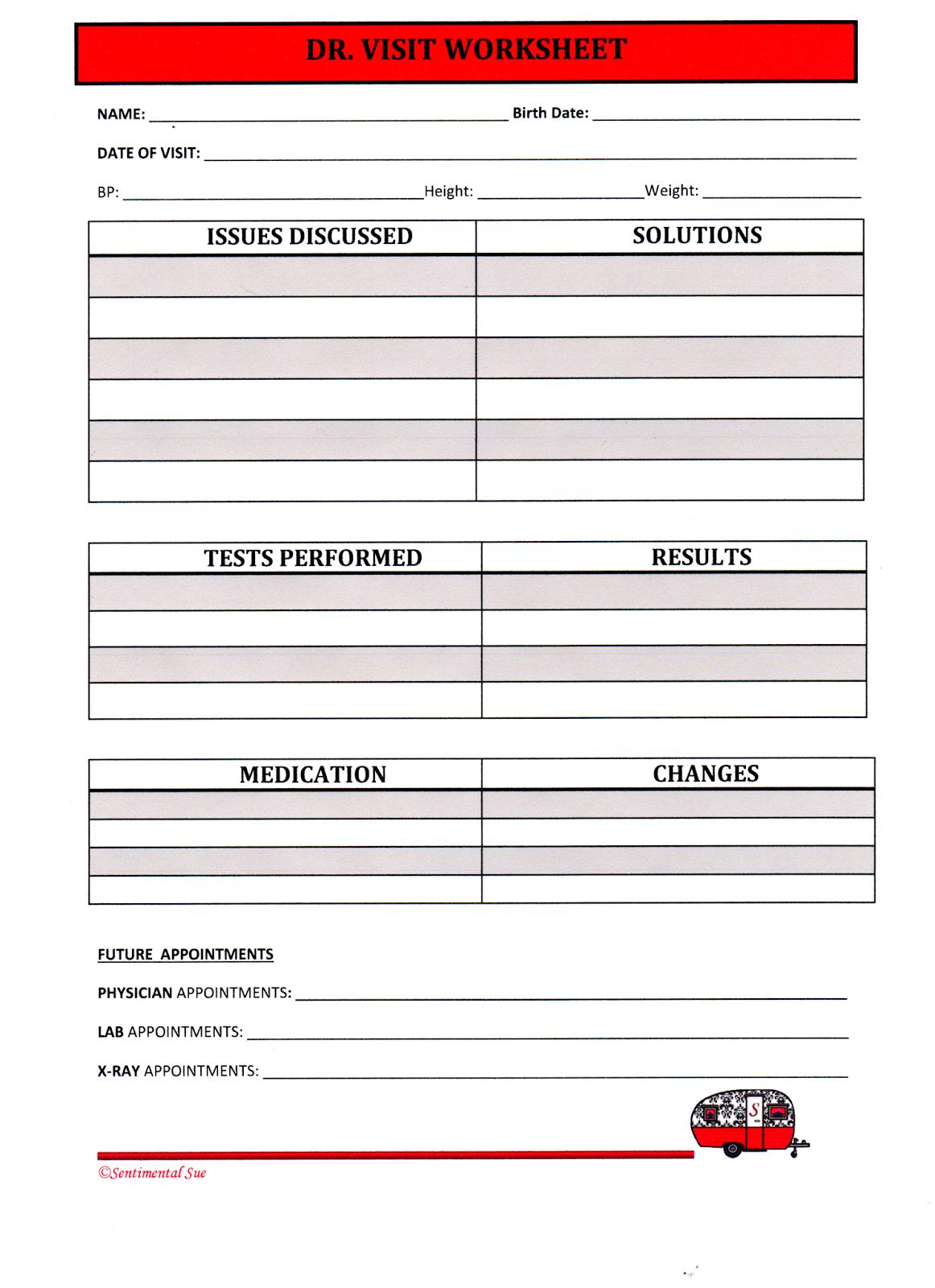 Sentimental Sue Workamper Worksheets