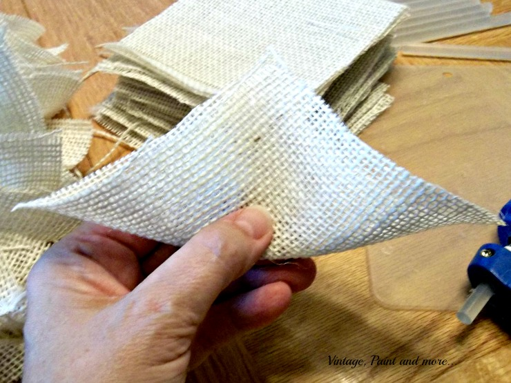 Vintage, Paint and more... folding the fabric squares for a wreath