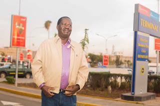 Raila Odinga at JKIA travelling to South Africa. PHOTO   Courtesy