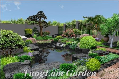 thiết kế hồ cá Koi đẹp, TungLam Garden