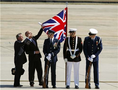Prime Minister David Cameron visit to the USA. Honour guard UK flag was upside-down! Laser Kiwi. marchmatron.com