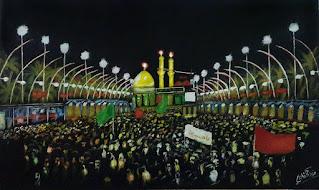 رسم رائع لضريح الامام الحسين