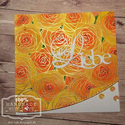 Hochzeitskarte mit Sketched Soses Backgroundstamp von Impression Obsession und WOW Embossing powder gold. Coloriert mit Distress Inks