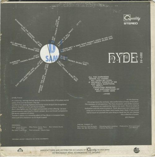 Johnkatsmc5 hyde hyde 1969 toronto psych folk rock highly hyde hyde 1969 toronto psych folk rock highly influenced by bob dylan features canadian psych legends rockadrome as the backing band publicscrutiny Gallery