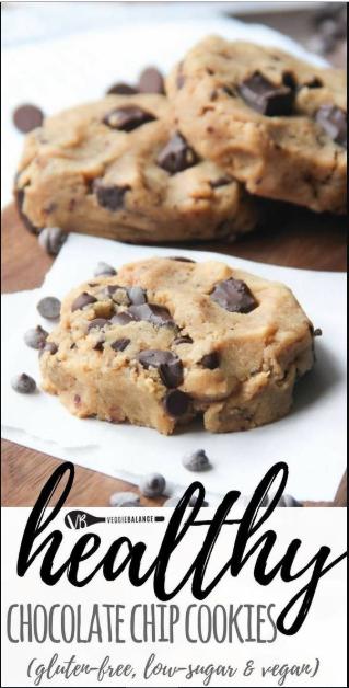 healthy chocolate chip cookies (gluten free, vegan, low sugar)