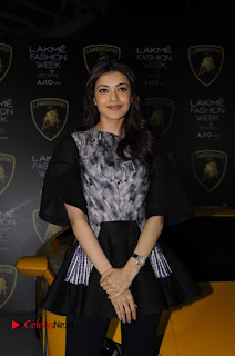 Actress Kajal Aggarwal Stills in Black Dress at Lakme Fashion Week Summer Resort 2017  0003.jpg