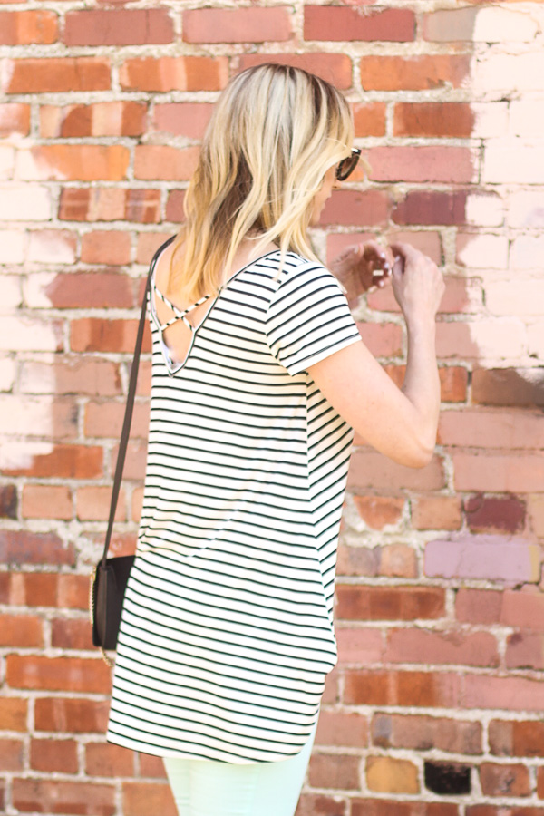 black and white striped top parlor girl