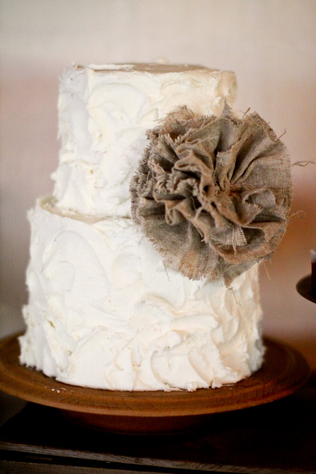 Karas Party Ideas Burlap and Lace Wedding Dessert Table