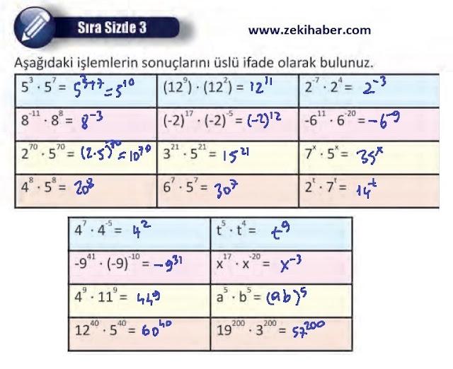 8. Sınıf MEB Yayınları Matematik 27. Sayfa Cevapları 1. Ünite