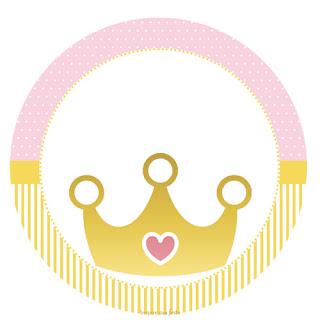 Toppers o Etiquetas de Corona Dorada con Rosa para imprimir gratis.