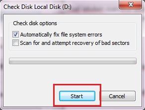 Pilih Automatically fix file system errors saja kemudian klik Start.