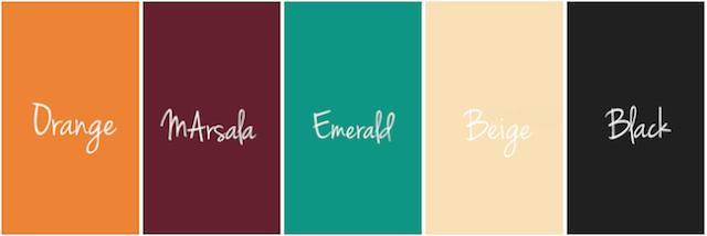 Matrimonio Green. Marsala, verde smeraldo, arancione, Tendenze colore  2017-2018