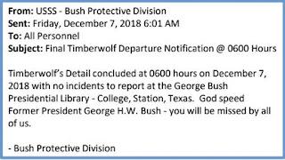 Secret Service detail for Bush, code name 'Timberwolf,' ends