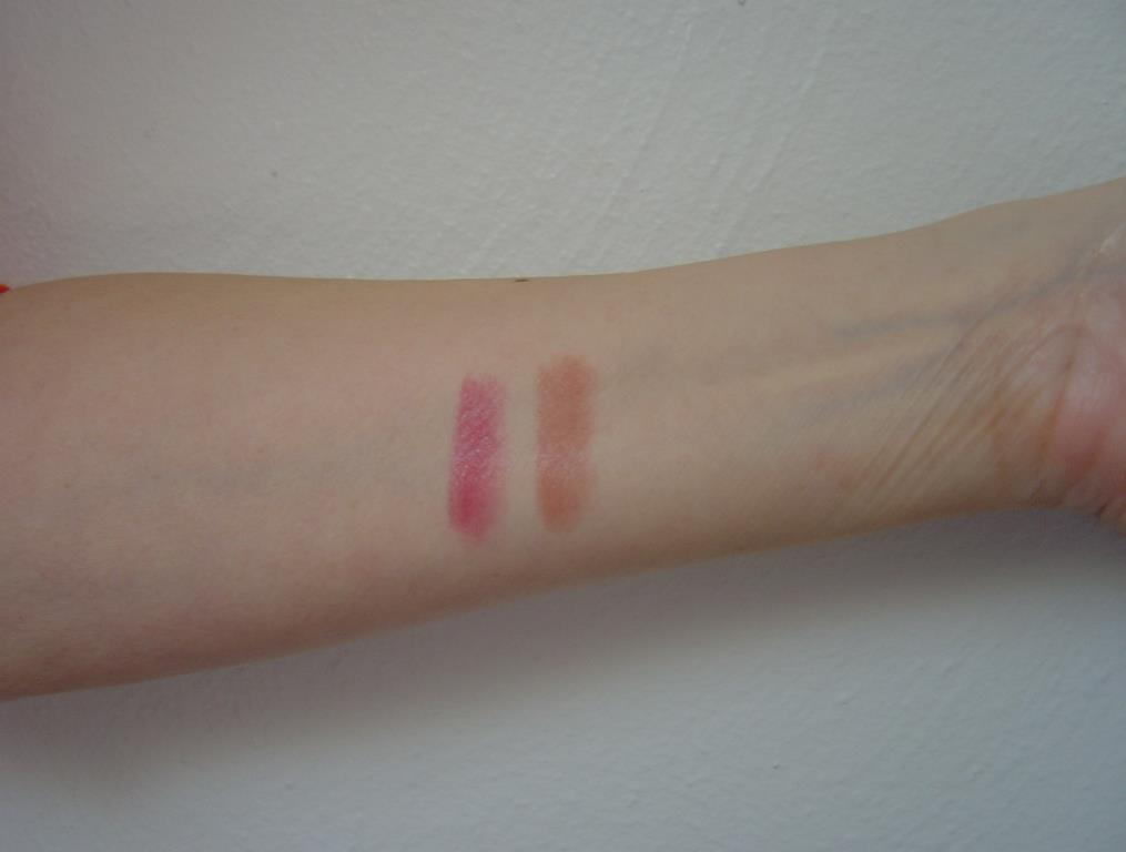 swatches of Burt's Bees Lipsticks 502 Suede Splash and 514 Brimming Berry