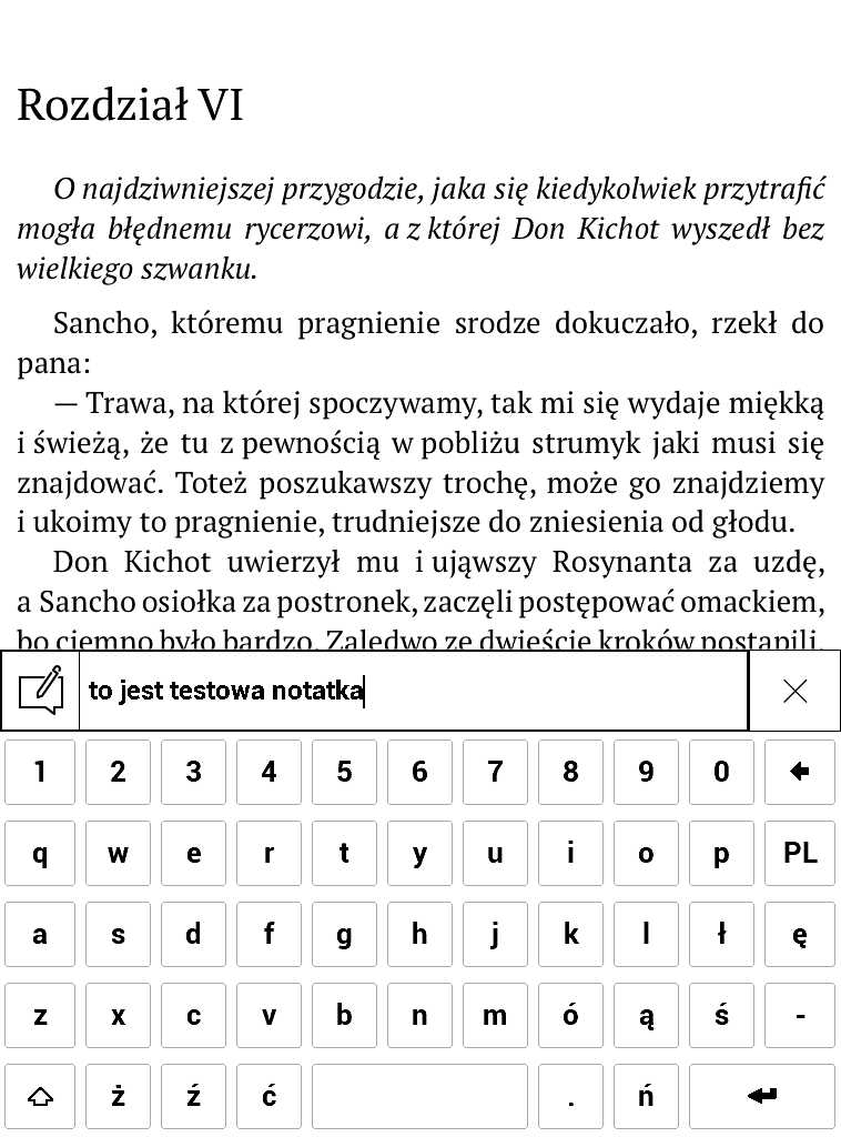 PocketBook Aqua 2 – wpisywanie treści notatki